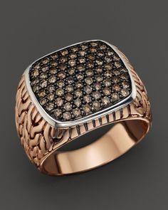 Chocolate Diamond Jewelry for Men | John Hardy Mens Classic Chain Bronze Sterling Silver Brown Diamond ...