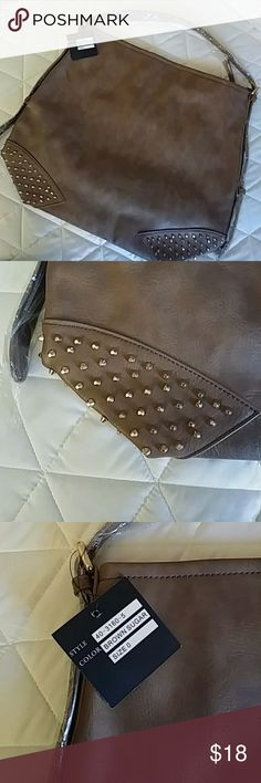 """Gold Studded Handbag New...big and roomy...18"""" wide 15"""" high...CAME FROM A SMOKING HOME. I believe that SR2 is made by Sondra Roberts. SR2 Bags Satchels"""