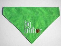Big Brother Embroidered Green or Blue Slide On Dog by JAPRALCrafts