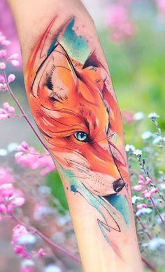 Tattoo photo - Fox tattoo by Adrian Bascur Tribal Arm Tattoos, Body Art Tattoos, Tattoo Drawings, Watercolor Tattoo Artists, Watercolor Fox Tattoos, Van Gogh Tattoo, Zorro Tattoo, Raven Tattoo, Fox Tattoo Design