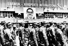 Cuban soldiers disembark at Luanda International Airport. Date unknown, my guess is that it's sometime during 1975 or 1976.