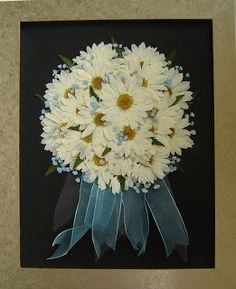 Pressed Flower Art ~ Fresh Daisey Bridal Bouquet Pressed and Preserved Forever! www.pressedgarden.com