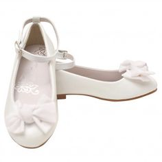 4632409aa3e5 Nanette Lepore Girls White Bow Embellished Buckle Ankle Strap Shoes 11-4  Kids Ankle Strap