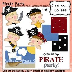 Pirate Party Clip Art personal & commercial use C Seslar