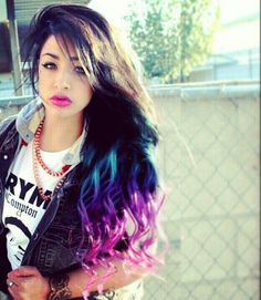 Blue purple pink ombre dip dyed hair