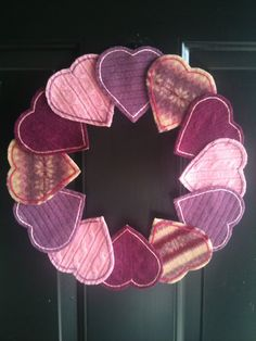 Upcycled Felted Wool Pink and Purple Heart by ErynnesOriginals, $35.00