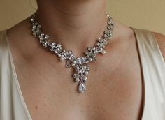 Bridal Necklace Wedding Jewelry Crystal and Pearl by JamJewels1