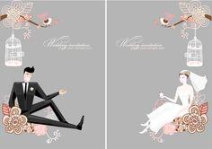 free vector Fine line of wedding background draft 01 vector