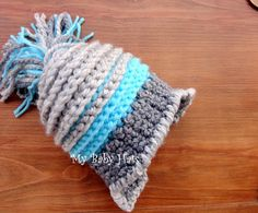 Newborn crochet hat Baby hat in gray and blue by mybabyhats, $23.00
