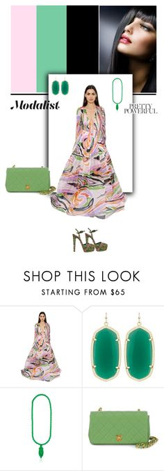 """Look Fashionable in a Printed Silk Dress"" by modalist ❤ liked on Polyvore featuring Emilio Pucci, Kendra Scott, Mariah Rovery, Chanel and Le Silla"