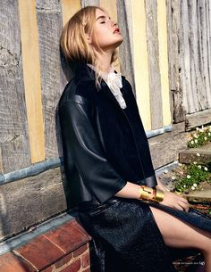 Isabel Scholten - Longchamp leather and suede jacket, Bally leather skirt