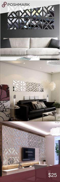 4pc 3D decorative wall mirror DIY Brand new! DIY wall decor. Comes with the guide Accessories