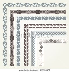 Find Set Decorative Seamless Ornamental Border Corner stock images in HD and millions of other royalty-free stock photos, illustrations and vectors in the Shutterstock collection. Thousands of new, high-quality pictures added every day. Islamic Art Pattern, Pattern Art, Pattern Design, Border Embroidery, Embroidery Motifs, Zentangle, Blackwork, Islamic Wall Art, Islamic Art Calligraphy