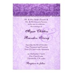 PURPLE - The example shown is a rich purple and lilac damask wedding invitation card. Browse this and more purple hued wedding invitations.