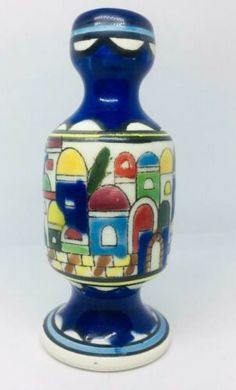"Hand Made Earthenware Hand Painted Carved Ceramic Decor 4.5"" Hebron Multi-color 