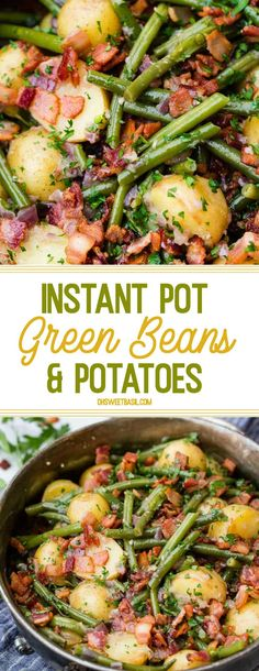 Instant Pot Green Beans and Potatoes It's a Southern tradition with an electric pressure cooker twist! These Instant Pot Green Beans and Potatoes are so flavorful, tender and there's bacon on top! More from my site Instant Pot Chicken Parm Pastta Instant Pressure Cooker, Instant Cooker, Electric Pressure Cooker, Instant Pot Veggies, Green Beans And Potatoes, Chicken With Green Beans, Green Beans With Bacon, Instant Pot Dinner Recipes, Instant Pot Greens Recipe