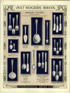 1923 PAPER AD 2 Sided 1847 Rogers Bros Silverware Heraldic Design Pattern Vintage Recipes, Vintage Food, Dining Etiquette, Elegant Dining Room, Serving Utensils, Diy Home Crafts, The Gathering, Vintage Silver, Vintage Antiques