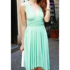 $8.79 Solid Color Sleeveless Chiffon Multi-Ways Refreshing Style Dress For Women