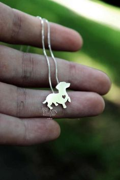Dachshund necklace sterling silver hand cut pendant with