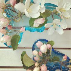 Kukkia on niin paljon että maltoin poimia muutamat maljakkoon. #omenapuu #omenankukka #nuppu #turkoosi #pinkki