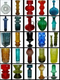 Now a defunct company, but Riihimäen Lasi produced some great pieces in its time. Nordic Design, Scandinavian Design, Genie Bottle, Vases, Art Of Glass, Glass Ceramic, Modern Glass, Glass Design, Colored Glass