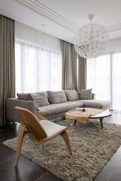 Semi detached house in Vietnam showcasing warm interior design by Landmak Architecture