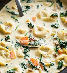 My family loves soup year round. so no matter the weather, we are always up for a delicious bowl of soup. Slow Cooker Creamy Tortellini Soup is pure comfort food, loaded with vegetables, Italian sausage Crockpot Dishes, Crock Pot Slow Cooker, Crock Pot Cooking, Slow Cooker Recipes, Soup Recipes, Cooking Recipes, Crockpot Ideas, Cooking Ideas, Recipes
