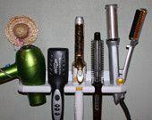 Bathroom Organizer Hair Blow Dryer Straightener Curling Flat Iron Holder Bath Salon Storage 5 HOLE SHELF  BDCCCF-E. $24.05, via Etsy.