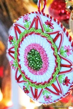 """Finished Hand Embroidered Christmas ornament - with step by step tutorials through the whole process of embroidering and finishing a 3"""" Christmas tree ornament embroidered with supplies from your stash!"""