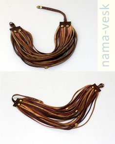 SALE 18% Leather Set Jewelry Brown Beige Leather by NamaVesk