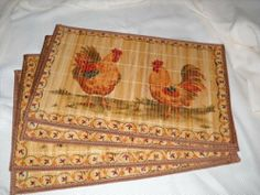 Set of Four Rooster Printed Bamboo Placemats Farm Kitchen Table Decor by benson mills, http://www.amazon.com/dp/B007Y4RZ44/ref=cm_sw_r_pi_dp_rinbsb0TPKTJK