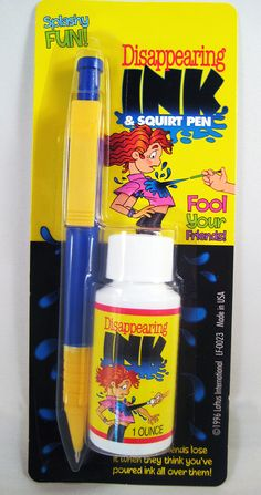 DISAPPEARING INK WITH PEN...... The classic joke but with a real pen added. Fill the pen up with the Disappearing Ink and use it to secretly squirt people as they walk by. Harmless blue colored liquid that goes away when it evaporates. The perfect GOT YA prank! www.theonestopfunshop.com