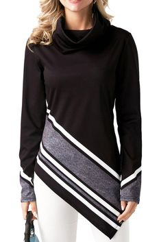 New chic striped high collar long sleeve hem asymmetric design XL top Trendy Tops For Women, Blouses For Women, Stylish Tops, Ladies Blouses, Ladies Tops, Tops Online Shopping, Casual Skirt Outfits, Diy Couture, Short Cocktail Dress