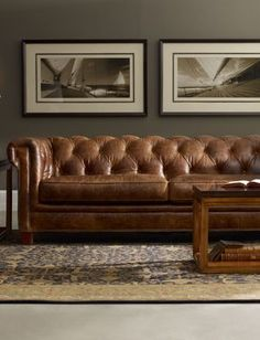 Hooker Chesterfield Leather Sofa