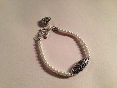 Pearl Bracelet Silver Jewelry Filigree Jewellery Rose by cdjali, $17.00