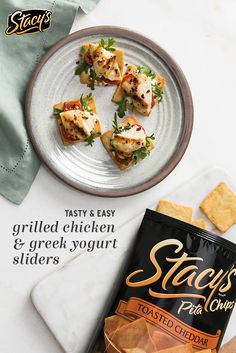 Grilled Chicken & Greek Yogurt Sliders are tasty little bites that are so simple to make. They're perfect for summer holiday entertaining! All you need is Stacy's® Toasted Cheddar Pita Chips, chicken, Greek Yogurt, tomato, a handful baby arugula and seasoning! Whether you make them as an appetizer or individual snack, they're always delicious.