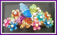 Gold Tone Hair Barrette with Intricate Design decorated with Crystals Only $11.99 and Free Shipping at www.crystaldaydream.com