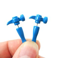 3D Fake Gauge Realistic Hammer Tool Stud Earrings in Blue for Men and Women $10 #hammers #tools #carpenters #earrings #jewelry