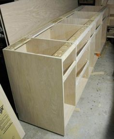 Tricks and Tips for Better Built-in Cabinets. Part furniture, part trim carpentry, built-in cabinets require that you fit square project… Diy Projects Kitchen Cabinets, Kitchen Cabinet Makers, Building Kitchen Cabinets, Kitchen Cupboard Doors, Diy Cabinets, Garage Cabinets, Shop Cabinets, Cabinet Making, Base Cabinets