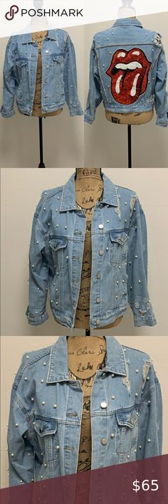 Hot Sale Womens Fashion Washed Blue Pearls Denim Jacket Casual Jean Short Coat