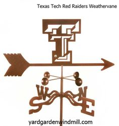 Texas Tech Red Raiders Tide weathervane - made in USA - 14 gauge Antique Copper powder coat - choice of Roof, Post, Deck or Garden Stake Mount.  21 inches from the arrow tip to back fin.  $59.95
