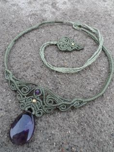 Amethyst Macrame necklace choker stone size approx. by LaQuetzal