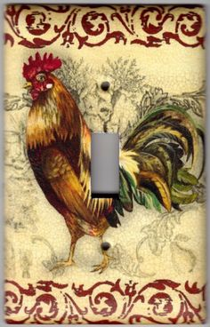 French Country Rooster / Chicken Switchplate Cover   Single Regular Size  (785)