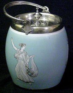 ANTIQUE DEYKIN & SONS PORCELAIN BISCUIT CRACKER JAR BARREL SILVER TOP 1860-1890