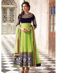 Blue and green ankle length anarkali suit   1. Blue and green net embroidered anarkali suit2.  Zardosi embroidered blue yoke3. Green flare with broad embroidered border 4. Comes with matching bottom and dupatta 5. Can be stitched upto size 44 inches