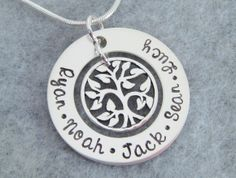 Hand Stamped Tree of Life Personalized Family Necklace - Grandma Necklace - Mothers Necklace. $52.00, via Etsy.