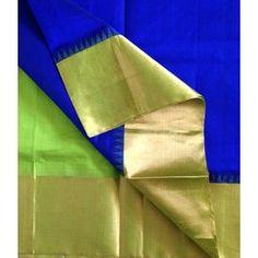 SC210028-VARNAM Handwoven Silkcotton-Korvai-SIlk Borders-Deep Blue parrot green, 750g