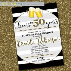Cheers to 50 Years Birthday Party Invitation Surprise
