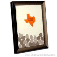 Customize your wedding with a drop in guestbook with a state shape in the center. Choose from many colors color combinations and frame profiles. By WeddingGuestbookCo.com