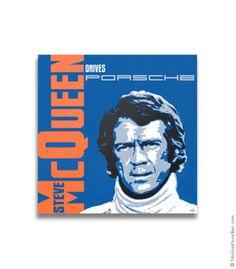 Steve McQueen Drives Porsche - The Racer - Canvas Print